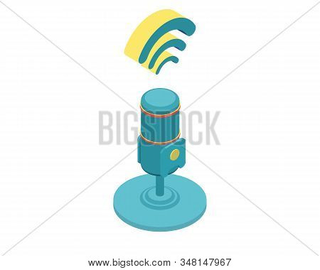 Isometric Vector Illustration For Podcasting, Broadcasting, Straeming Or Online Radio. Equipment For
