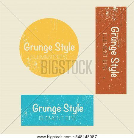 Set Of Geometry Shapes. Grunge Style. Vector.