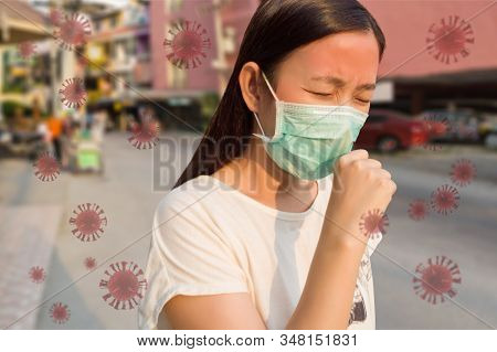 Woman Feeling Sick, Coughing, Wearing Protective Mask Against Transmissible Infectious Diseases And