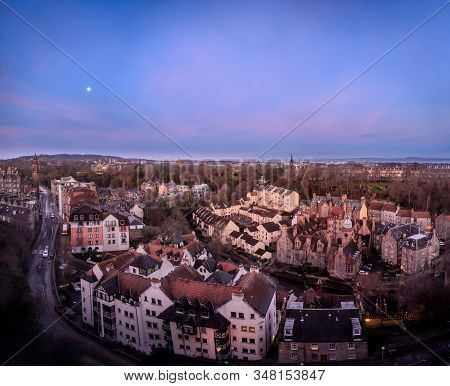 Top Panoramic View On Dean Village In Old Part Of Edinburgh City In Morning Hours, Capital Of Scotla