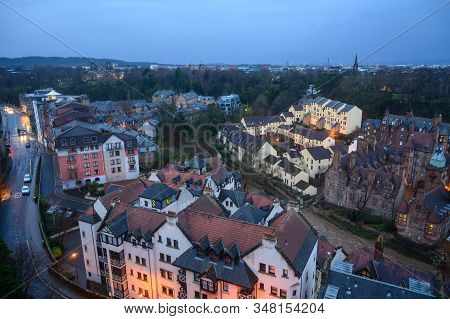 Top View On Dean Village In Old Part Of Edinburgh In Morning Hours, Capital Of Scotland