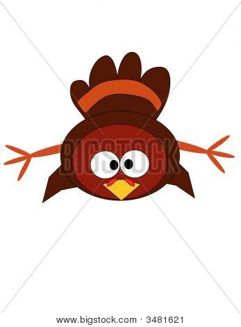 An illustration of a baby turkey cross-eyed and lying on its front. poster