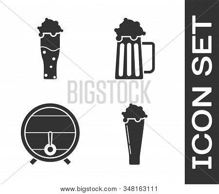 Set Glass Of Beer, Glass Of Beer, Wooden Barrel On Rack With Stopcock And Wooden Beer Mug Icon. Vect