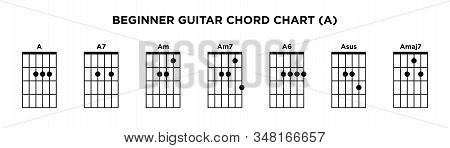 Basic Guitar Chord Chart Icon Vector Template. A Key Guitar Chord.