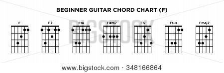 Basic Guitar Chord Chart Icon Vector Template. F Key Guitar Chord.