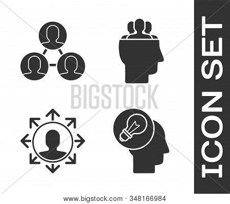 Set Human Head With Lamp Bulb, Project Team Base, Project Team Base And Project Team Base Icon. Vect