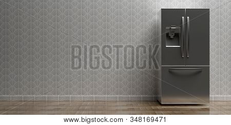 Refrigerator Side By Side On Kitchen Floor, Wallpaper Background, Copy Space. 3D Illustration