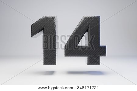 Black Carbon Fiber Number 14 Isolated On White. 3d Rendered Black Glossy Carbon Font For Poster, Ban