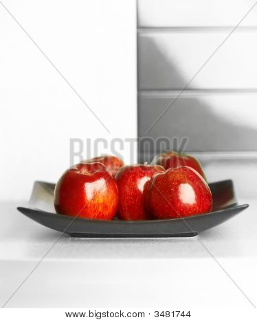 Apples On White Kitchen\\\'s Table