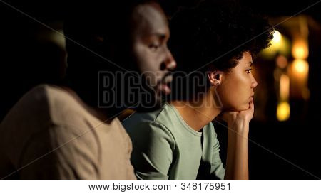 Indifferent Couple Ignoring Each Other, Failed Date, Relations Difficulties