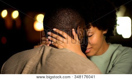 African American Couple Nuzzling, Intimate Date, Sexual Desire, Seducing Girl