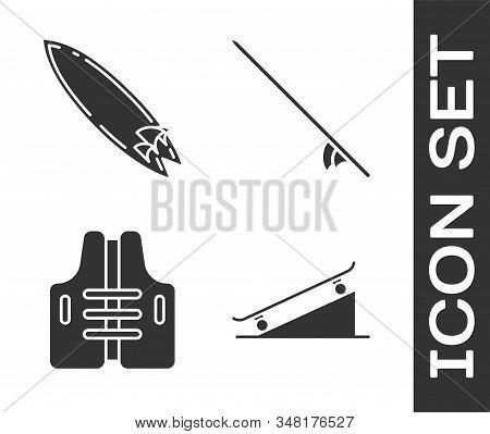 Set Skateboard On Street Ramp, Surfboard, Life Jacket And Surfboard Icon. Vector