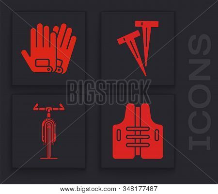 Set Life Jacket, Gloves, Pegs For Tents And Bicycle Icon. Vector