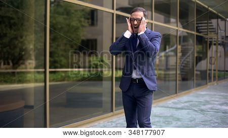 Businessman Shouting From Sudden Sharp Migraine Attack, Risk Of Thrombus, Health