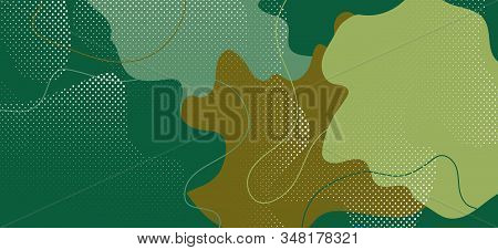 Summer Camouflage Illustration. Graphic Camo Wave Banner. Vector Green Military Pattern. Trendy Camo