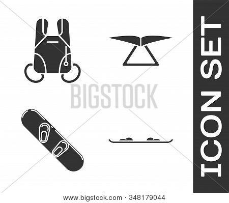 Set Snowboard, Parachute, Snowboard And Hang Glider Icon. Vector