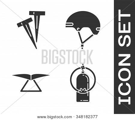 Set Aqualung, Pegs For Tents, Hang Glider And Helmet Icon. Vector