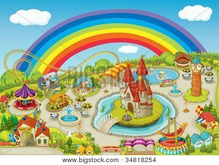 illustration of a fair on beautiful rainbow background