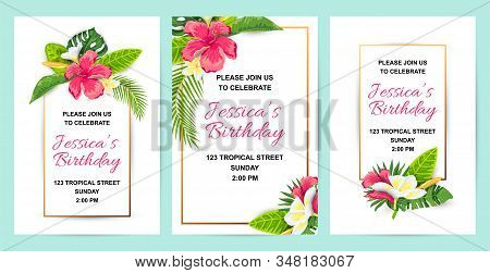 Invitations With Tropical Flowers, Jungle Leaves. Vector Illustration Summer Templates. Place For Te