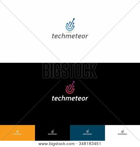 Tech Meteor Logo  Corporate Logo With Falling Down Meteor, Could Be Used In Electronic Shops, Or Oth