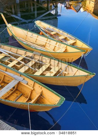 Traditional yellow Nova Scotia fishing boats