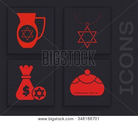 Set Jewish Sweet Bakery, Decanter With Star Of David, Star Of David Necklace On Chain And Jewish Mon