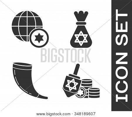 Set Hanukkah Dreidel And Coin, World Globe And Israel, Traditional Ram Horn, Shofar And Jewish Money
