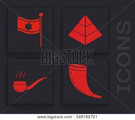 Set Traditional Ram Horn, Shofar, Flag Of Israel, Egypt Pyramids And Smoking Pipe With Smoke Icon. V