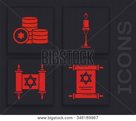 Set Torah Scroll, Jewish Coin, Burning Candle In Candlestick And Torah Scroll Icon. Vector