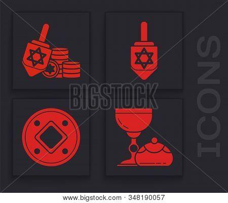 Set Jewish Goblet And Hanukkah Sufganiyot, Hanukkah Dreidel And Coin, Hanukkah Dreidel And Jewish Co