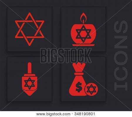 Set Jewish Money Bag With Star Of David And Coin, Star Of David, Burning Candle In Candlestick With