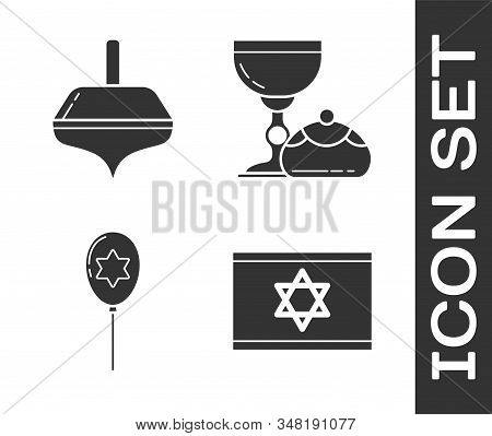 Set Flag Of Israel, Hanukkah Dreidel, Balloons With Ribbon With Star Of David And Jewish Goblet And