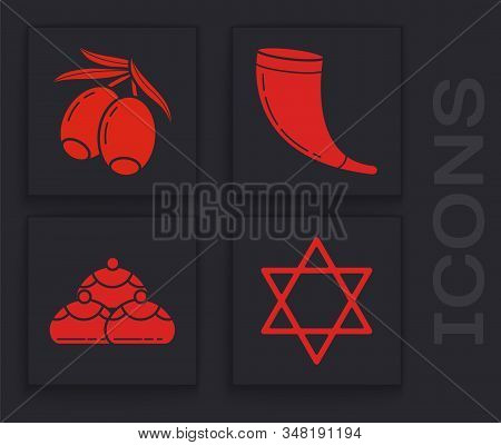 Set Star Of David, Olives Branch, Traditional Ram Horn, Shofar And Jewish Sweet Bakery Icon. Vector