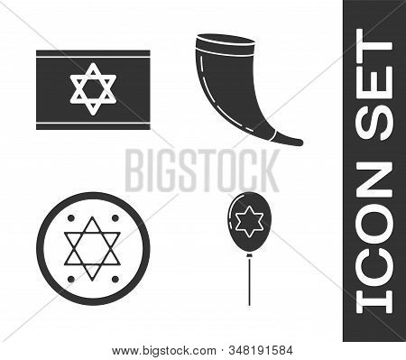 Set Balloons With Ribbon With Star Of David, Flag Of Israel, Jewish Coin And Traditional Ram Horn, S