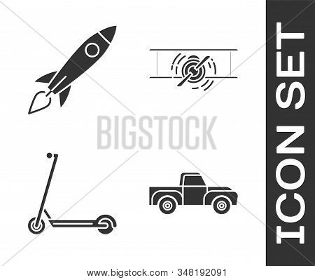 Set Pickup Truck, Rocket Ship With Fire, Scooter And Old Retro Vintage Plane Icon. Vector