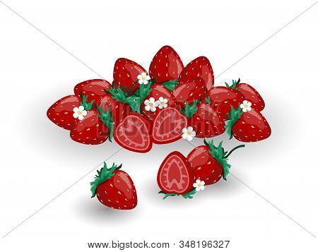 Cute Strawberry, Strawberry Blossom And A Half Of Strawberry On White Background. Red Summer Fruit I