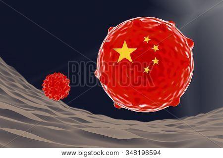 Corona Virus With China Flag Inside It, 3d Illustration