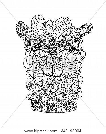 Zentangle Coloring Book Page. Alpaca Llama Portrait. Coloring Page Lama Antistress In Beautiful Dood