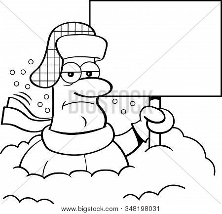 Black And White Illustration Of A Unhappy Man Buried In Snow And Holding A Blank Sign.