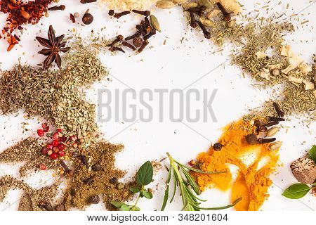 Art Composition With Different Aromatic On White Background