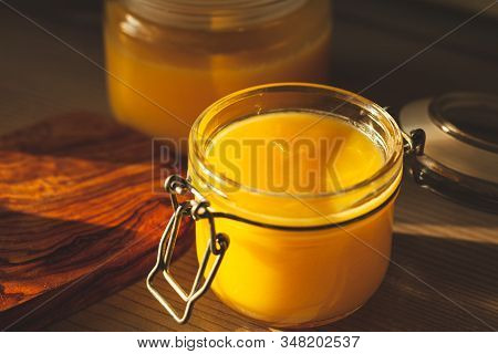 Glass Jar With Ghee - Clarified Butter At Kitchen
