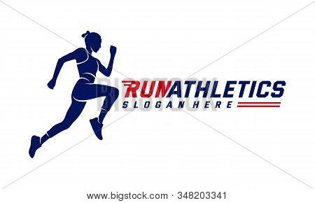 Running Woman Silhouette Logo Designs Vector, Marathon Logo Template, Running Club Or Sports Club, I