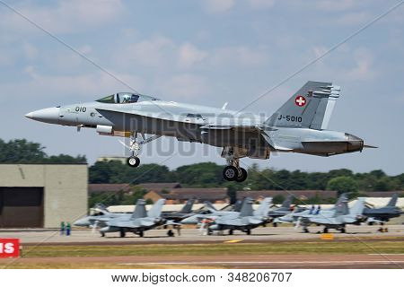Fairford / United Kingdom - July 12, 2018: Swiss Air Force F/a-18c Hornet J-5010 Fighter Jet Display