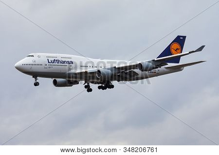 Frankfurt / Germany - December 4, 2012: Lufthansa Boeing 747-400 D-abvm Passenger Plane Landing At F