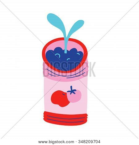 Kitchen Garden, Seedling In Tomato Can, Little Sprout Growing In Soil, Isolated Vector Illustration,