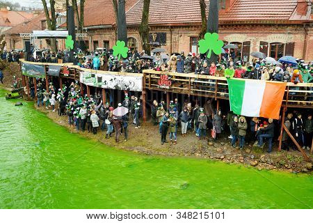 Vilnius, Lithuania - March 16, 2019: Hundreds Of People Enjoying Festivities And Celebrating St. Pat