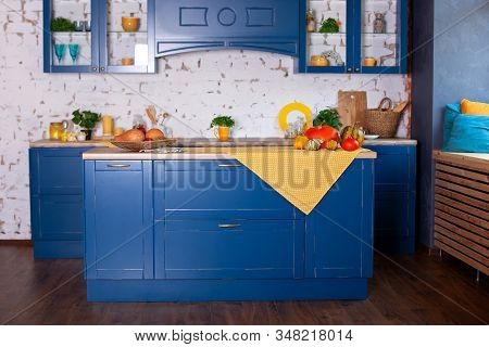 Modern Blue Kitchen Interior In Loft Style With Furniture. Stylish Scandinavian Cuisine In Decor. Wo