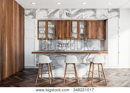 Bar In White Marble And Wooden Kitchen