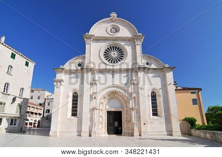 The Cathedral Of St. James Is A Triple Nave Basilica With Three Apses And A Dome In The City Of Sibe