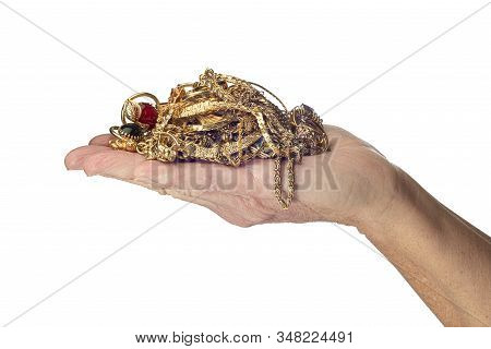 Hand Holding Gold Jewelry Isolated On White